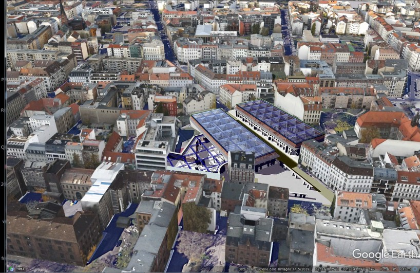 The project inserted in the area. You can clearly see the ancient road axis that structured the north-west part of the city